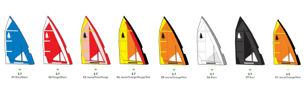 windsurfer sails colors available, one sail, one color, Windsurfer, Windsurfer France by Exocet, le renouveau de la planche à voile, stand up paddle, windsup, Windsurfer LT, windsurfer Racing, windsurfer Class